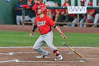 Zach Gibbons (37) of the Orem Owlz follows through on his swing against the Ogden Raptors during the Pioneer League game at Lindquist Field on September 9, 2016 in Ogden, Utah. This was Game 1 of the Southern Division playoff. Orem defeated Ogden 6-5. (Stephen Smith/Four Seam Images)