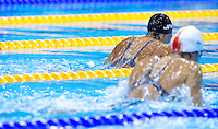 01 AUG 2012 - LONDON, GBR - Suzuki Satomi (JPN) (left) of Japan races during her women's 200m Breaststroke heat during the morning session of the London 2012 Olympic Games Swimming at the Aquatic Centre in the Olympic Park, in Stratford, London, Great Britain .(PHOTO (C) 2012 NIGEL FARROW)