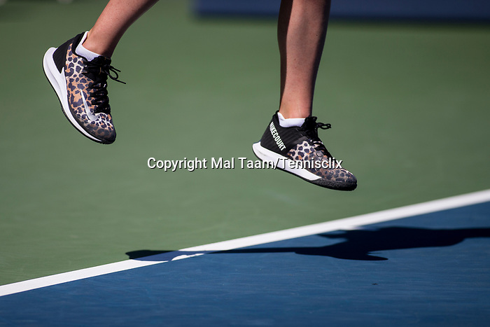 August 2, 2019: Close up of the shoes of Elina Svitolina (UKR) while serving where she was defeated by Maria Sakkari (GRE) 1-6, 7-6, 6-3 in the quarterfinals of the Mubadala Silicon Valley Classic at San Jose State in San Jose, California. ©Mal Taam/TennisClix/CSM