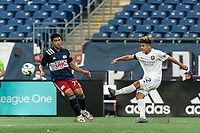 FOXBOROUGH, MA - AUGUST 7: Wilfredo Rivera #62 of Orlando City B takes a shot during a game between Orlando City B and New England Revolution II at Gillette Stadium on August 7, 2020 in Foxborough, Massachusetts.