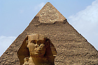 Great Sphinx of Cairo, Egypt & Khafre pyramid. The Pyramid of Khafre is the second-largest of the Ancient Egyptian Pyramids of Giza and the tomb of the fourth-dynasty pharaoh Khafre (Chephren).<br />