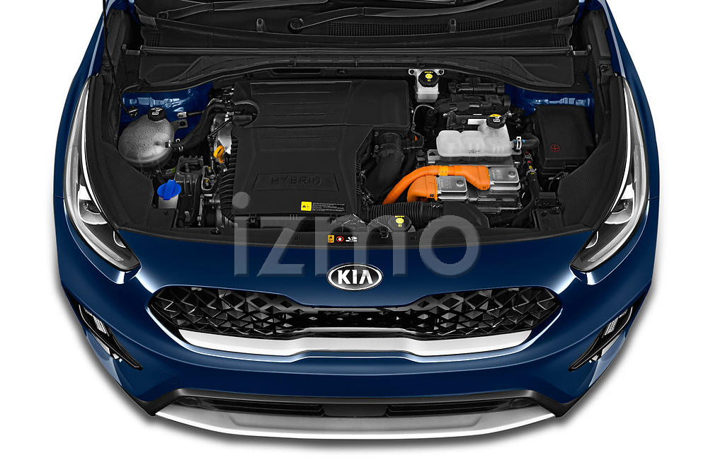 Car Stock 2020 KIA Niro-phev Sense 5 Door SUV Engine  high angle detail view