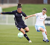 Lisa De Vanna of the Washington Freedom holds off Karen Carney of the Chicago Red Stars during a WPS match at Maryland Soccerplex on April 11 2009, in Boyd's, Maryland.  The game ended in a 1-1 tie.