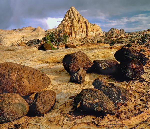 Rock foreground in Capitol Reef National Park, Utah.