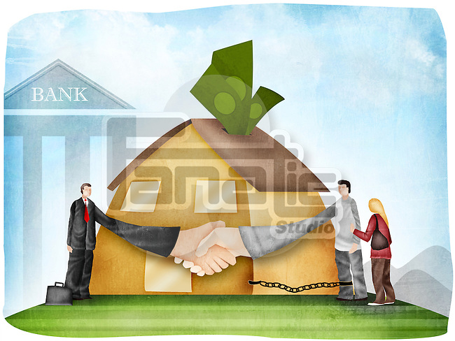 Handshake after a home loan agreement