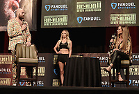 LAS VEGAS, NV - OCTOBER 6:  Tyson Fury and Kate Abdo at the  press conference at the MGM Grand Garden Arena on October 6, 2021 for their upcoming Fox Sports PBC pay-per-view fight in Las Vegas, Nevada. The Fury vs Wilder III pay-per-view fight will be on Saturday, October 9 at T-Mobile Arena in Las Vegas. (Photo by Scott Kirkland/Fox Sports/PictureGroup)