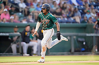 Matthew Frazier (14) of the Greensboro Grasshoppers in a game against the Greenville Drive on Friday, July 23, 2021, at Fluor Field at the West End in Greenville, South Carolina. (Tom Priddy/Four Seam Images)