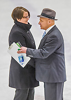 14 February 2015: University of Vermont Catamount Head Coach Jim Plumer (right) greets University of New Hampshire Wildcat Head Coach Hilary Witt after the game at Gutterson Fieldhouse in Burlington, Vermont. The Lady Catamounts rallied from a 3-1 deficit to earn a 3-3 tie in the final home game of their NCAA Hockey East season. Mandatory Credit: Ed Wolfstein Photo *** RAW (NEF) Image File Available ***