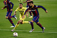 27th September 2020; Camp Nou, Barcelona, Catalonia, Spain; La Liga Football, Barcelona versus Villareal;  Gerard Pique of Barca outpaces Paco Alcacer as he breaks forward