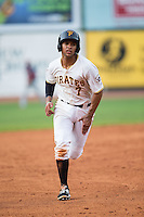 Trae Arbet (7) of the Bristol Pirates takes off for third base against the Johnson City Cardinals at Boyce Cox Field on July 7, 2015 in Bristol, Virginia.  The Cardinals defeated the Pirates 4-1 in game one of a double-header. (Brian Westerholt/Four Seam Images)