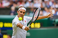 London, England, 8 July, 2019, Tennis,  Wimbledon, Men's singles: Roger Federer (SUI)<br /> Photo: Henk Koster/tennisimages.com