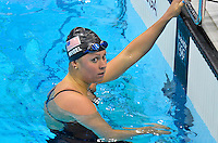 July 28, 2012: ELIZABETH BEISEL of USA looks towards the spectators after second place finish in women's 400 meter individual medley at the Aquatics Center on day one of 2012 Olympic Games in London, United Kingdom...