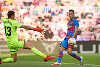 29th August 2021; Nou Camp, Barcelona, Spain; La Liga football league, FC Barcelona versus Getafe; Sergio Busquets of FC Barcelona shoots but sees his shot saved by keeper Soria of Getafe