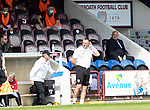 Arbroath v St Johnstone…15.08.21  Gayfield Park      Premier Sports Cup<br />Arbroath boss Dick Campbell watches from the stands<br />Picture by Graeme Hart.<br />Copyright Perthshire Picture Agency<br />Tel: 01738 623350  Mobile: 07990 594431
