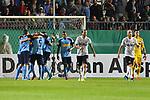 09.08.2019, BWT-Stadion am Hardtwald, Sandhausen, GER, DFB Pokal, 1. Runde, SV Sandhausen vs. Borussia Moenchengladbach, <br /> <br /> DFL REGULATIONS PROHIBIT ANY USE OF PHOTOGRAPHS AS IMAGE SEQUENCES AND/OR QUASI-VIDEO.<br /> <br /> im Bild: Jubel ueber das Tor zum 0:1 durch Marcus Thuram (#10, Borussia Moenchengladbach), mit dabei <br /> Alassane Plea (#4, Borussia Moenchengladbach) und Jonas Hofmann (#23, Borussia Moenchengladbach) <br /> Frust bei Gerrit Nauber (#22, SV Sandhausen) und Dennis Diekmeier (SV Sandhausen #18)<br /> <br /> Foto © nordphoto / Fabisch