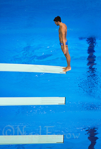26 JUL 2012 - LONDON, GBR - A Italian (ITA) competitor practices at the Aquatics Centre in the Olympic Park, Stratford, London, Great Britain ahead of the London 2012 Olympic Games Diving .(PHOTO (C) 2012 NIGEL FARROW)