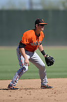 San Francisco Giants shortstop Christian Arroyo (22) in the field during an instructional league game against the Oakland Athletics on September 27, 2013 at Papago Park Baseball Complex in Phoenix, Arizona.  (Mike Janes/Four Seam Images)