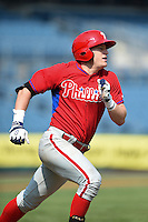Travis Blankenhorn (3) of Pottsville Area High School in Pottsville, Pennsylvania playing for the Philadelphia Phillies scout team during the East Coast Pro Showcase on August 1, 2014 at NBT Bank Stadium in Syracuse, New York.  (Mike Janes/Four Seam Images)