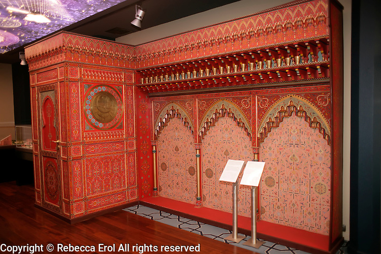 Copy of a water clock from Fez at the Museum of the History of Islamic Science and Technology, Istanbul, Turkey. Constructed in 1362, it was housed in the astronomer's room in the Qarawiyim Mosque in Fez who had to calculate the times of prayer
