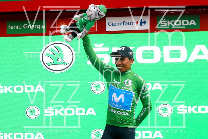 ESPAÑA, 31-08-2019: Nairo Quintana (ESP - MOVISTAR) celebra con maillot verde líder de los puntos después después de la etapa 8, hoy, 31 de agosto de 2019, que se corrió entre Valls e Igualada con una distancia de 166,9 km como parte de La Vuelta a España 2019 que se disputa entre el 24/08 y el 15/09/2019 en territorio español. / Nairo Quintana (ESP - MOVISTAR) celebrates with the green points leader jersey after the stage 8 today, August 31, 2019, from Valls to Igualada with a distance of 166,9 km as part of Tour of Spain 2019 which takes place between 08/24 and 09/15/2019 in Spain.  Photo: VizzorImage / Luis Angel Gomez / ASO<br /> VizzorImage PROVIDES THE ACCESS TO THIS PHOTOGRAPH ONLY AS A PRESS AND EDITORIAL SERVICE AND NOT IS THE OWNER OF COPYRIGHT; ANOTHER USE HAVE ADDITIONAL PERMITS AND IS  REPONSABILITY OF THE END USER