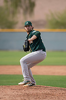 Oakland Athletics relief pitcher John Gorman (67) delivers a pitch to the plate during a Minor League Spring Training game against the Chicago Cubs at Sloan Park on March 13, 2018 in Mesa, Arizona. (Zachary Lucy/Four Seam Images)