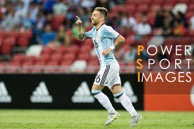 Alejandro Gomez of Argentina celebrating his goal with his teammates during the International Test match between Argentina and Singapore at National Stadium on June 13, 2017 in Singapore. Photo by Marcio Rodrigo Machado / Power Sport Images