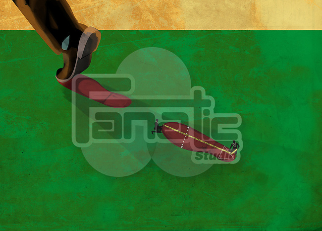 Illustrative image of environmentalist measuring carbon footprint on field
