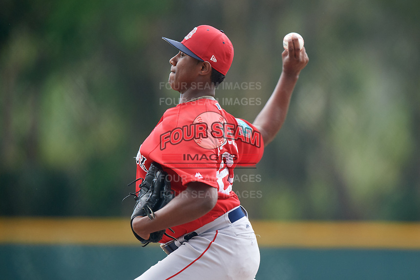 Boston Red Sox pitcher Andres Jimenez (64) during a Minor League Spring Training game against the Baltimore Orioles on March 20, 2018 at Buck O'Neil Complex in Sarasota, Florida.  (Mike Janes/Four Seam Images)