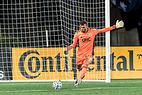 FOXBOROUGH, MA - OCTOBER 3: Matt Turner #30 of New England Revolution takes a goal kick during a game between Nashville SC and New England Revolution at Gillette Stadium on October 3, 2020 in Foxborough, Massachusetts.