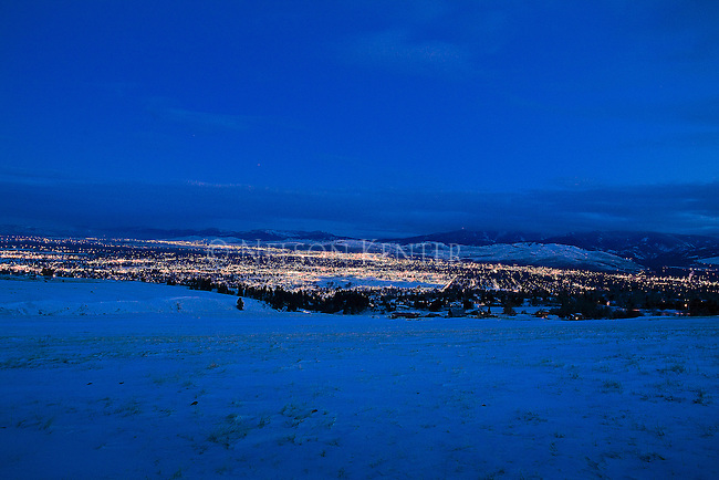 The lights of Missoula, Montana after dark on a winter night