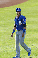 Biloxi Shuckers outfielder Joantgel Segovia (10) warms up in the outfield prior to a Southern League game against the Jackson Generals on June 13, 2019 at The Ballpark at Jackson in Jackson, Tennessee. Jackson defeated Biloxi 5-4. (Brad Krause/Four Seam Images)