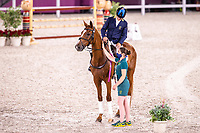 AUS-Andrew Hoy rides Vassily de Lassos during the Medal Ceremony for the Eventing Individual. Tokyo 2020 Olympic Games. Monday 2 August 2021. Copyright Photo: Libby Law Photography