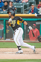 Alfredo Marte (21) of the Salt Lake Bees at bat against the Tacoma Rainiers in Pacific Coast League action at Smith's Ballpark on May 7, 2015 in Salt Lake City, Utah.  (Stephen Smith/Four Seam Images)
