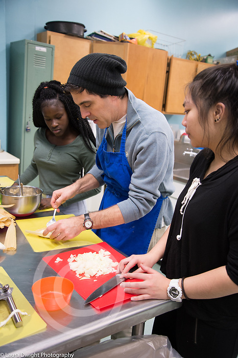 High School after school enrichment cooking class taught by volunteer chef
