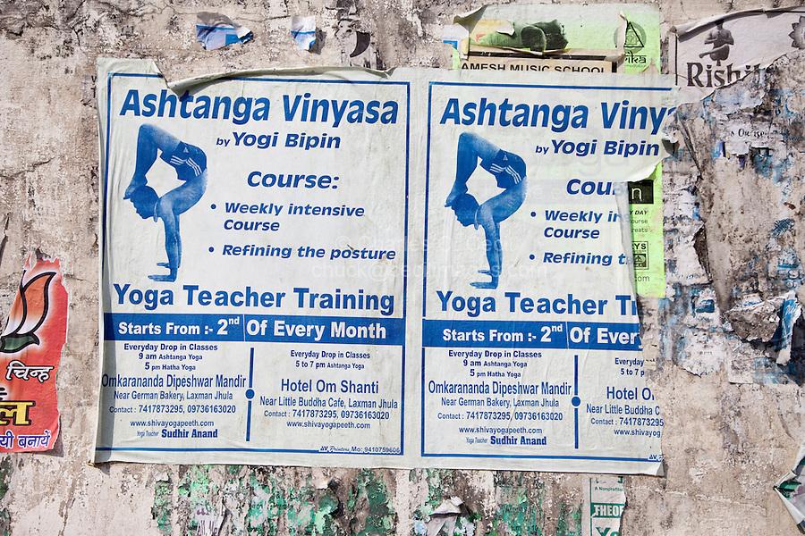 India, Rishikesh.  Advertisement for Yoga Lessons.