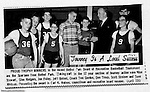 Bethel Park PA: Bethel Recreation Basketball Tournament at Bethel Junior High School on Park Avenue.  This team won the first place trophy for 12 year olds.  Mike Stewart, Glenn Rodgers, Jon Foley, Jeff Bolsel, Don Troup, Scott Streiner, and Dave Whitmer and Coach Tom Gordon.