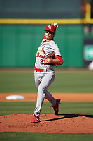 Palm Beach Cardinals starting pitcher Zac Gallen (23) delivers a pitch during the first game of a doubleheader against the Clearwater Threshers on April 13, 2017 at Spectrum Field in Clearwater, Florida.  Clearwater defeated Palm Beach 1-0.  (Mike Janes/Four Seam Images)
