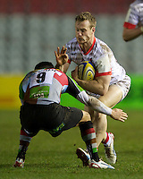 James Short of Saracens Storm is tackled by Karl Dickson of Harlequins 'A' during the Aviva Premiership A League Final between Harlequins A and Saracens Storm at the Twickenham Stoop on Monday 17th December 2012 (Photo by Rob Munro)