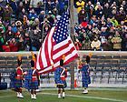 Nov. 23, 2013; The Irish Guard raises the flag in Notre Dame Stadium before the BYU game.<br /> <br /> Photo by Matt Cashore