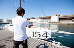 Launch of the Lift 40 ( Class 40 ) Black Mamba for the skipper Yoann Richomme before the Route du Rhum 2018 built at Gepeto Composite and designed by Marc Lombard Yacht Design Group, Lorient Keroman Submarine Base, Brittany, France..
