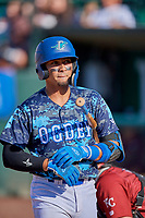 Ramon Rodriguez (7) of the Ogden Raptors at bat against the Idaho Falls Chukars at Lindquist Field on August 9, 2019 in Ogden, Utah. The Raptors defeated the Chukars 8-3. (Stephen Smith/Four Seam Images)