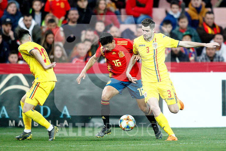 Romania's Ciobanu Andre, Romania's Florin Stefan and Spain's Pedro Porro    during the International Friendly match on 21th March, 2019 in Granada, Spain. (ALTERPHOTOS/Alconada)