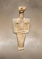 Cycladic Post Canonical type, Chalandrian variety female figurine statuette. Early Cycladic Period II Late Syros phase, (2500-2300 BC), Museum of Cycladic Art Athens, cat no 102