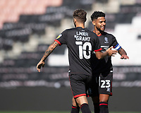 Lincoln City's Jorge Grant, left, celebrates scoring the opening goal with team-mate Liam Bridcutt<br /> <br /> Photographer Chris Vaughan/CameraSport<br /> <br /> The EFL Sky Bet League One - Milton Keynes Dons v Lincoln City - Saturday 19th September 2020 - Stadium MK - Milton Keynes<br /> <br /> World Copyright © 2020 CameraSport. All rights reserved. 43 Linden Ave. Countesthorpe. Leicester. England. LE8 5PG - Tel: +44 (0) 116 277 4147 - admin@camerasport.com - www.camerasport.com