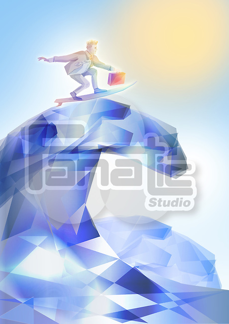 Illustrative image of businessman surfing represents conquering adversity