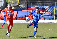 Marie Bougard (10) of Woluwe pictured in a duel with Fleur Pauwels (66) of KRC Genk during a female soccer game between FC Femina White Star Woluwe and KRC Genk on the 17 th matchday of the 2020 - 2021 season of Belgian Scooore Womens Super League , Saturday 20 th of March 2021  in Woluwe , Belgium . PHOTO SPORTPIX.BE | SPP | JILL DELSAUX