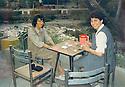 Iraq 1992 .Hero Talabani and Hatige Yachar in a cafe of Sarchinar, Suleimania  .Irak 1992 .Hero Talabani et Hatige Yachar dans un cafe de Sarchinar a Souleimania