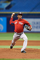 Boston Red Sox Kevin Steen (78) during an instructional league game against the Tampa Bay Rays on September 24, 2015 at Tropicana Field in St Petersburg, Florida.  (Mike Janes/Four Seam Images)