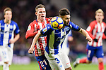 Kevin Gameiro of Atletico de Madrid (L) fights for the ball with Ruben Duarte of Deportivo Alaves (R) during the La Liga 2017-18 match between Atletico de Madrid and Deportivo Alaves at Wanda Metropolitano Stadium on 16 December 2017 in Madrid, Spain. Photo by Diego Souto / Power Sport Images
