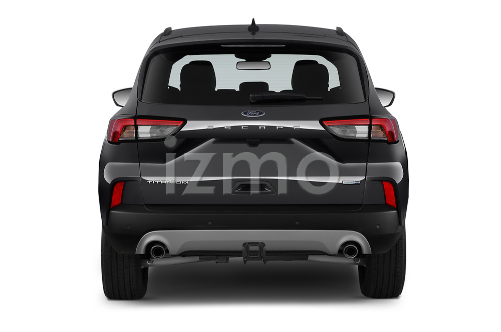 Straight rear view of 2020 Ford Escape Titanium 5 Door SUV Rear View  stock images